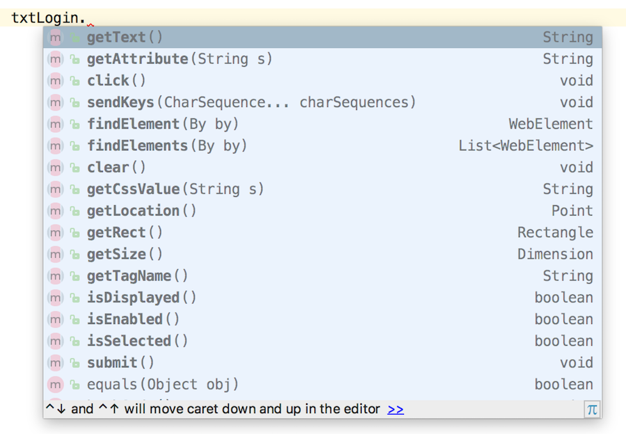 IntelliSense showing methods on WebElement
